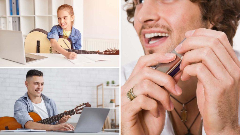 Guitar, harmonica, ukulele, music theory online lessons